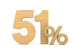 fifty one percent on white background. Isolated 3D illustration - 227290823