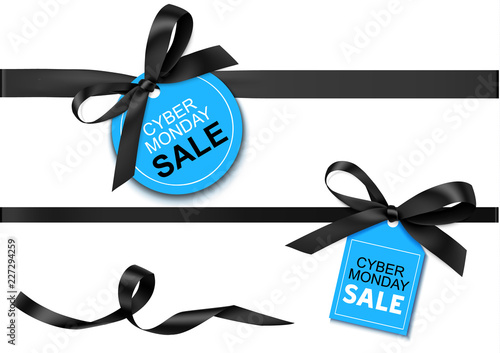 Decorative horizontal black ribbon with bow and sale tag for cyber monday sale design. Vector decoration and label isolated on white background