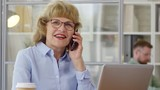 Senior businesswoman in eyeglasses smiling and talking on cell phone while working in the office - 227294656
