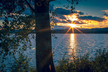 Autumn sunset view from Sotkamo, Finland.