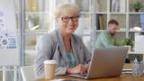 Happy senior businesswoman in eyeglasses sitting at desk in the office, with laptop, posing for camera and laughing - 227295031