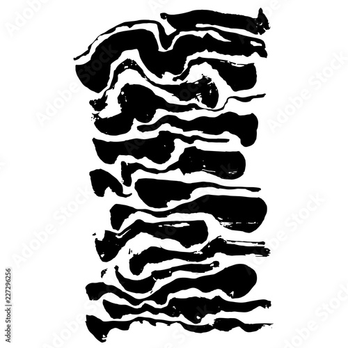 Brush painted wave pattern. Black and white stripes grunge background. - 227296256