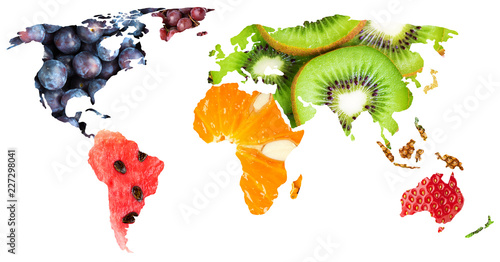 Collage of fresh mixed fruits. World map