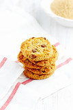 Home made butter cookies with raisins. White background. Copy space.   - 227301859