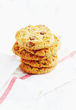 Home made butter cookies with raisins. White background. Copy space.   - 227306821