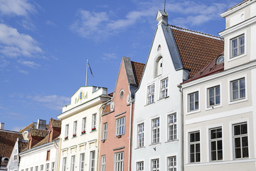 Facades of the houses on the town hall square. Old city, Tallinn, Estonia