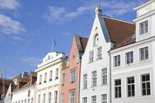 Wall mural Facades of the houses on the town hall square. Old city, Tallinn, Estonia