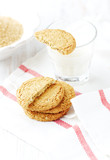 Oatmeal Cookies and a Glass of Milk. Home made. White background. Copy space.   - 227309401