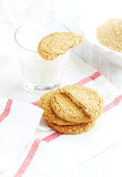 Oatmeal Cookies and a Glass of Milk. Home made. White background. Copy space.   - 227309494
