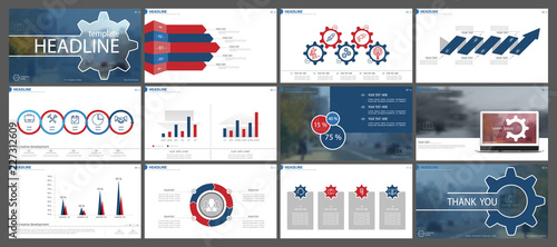 Multifunctional red and blue presentation template. Vector set, elements of infographics, white background. Postcard,postcard, corporate report,marketing,advertising, banners.Track,photo,annual report - 227312609
