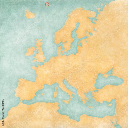 Leinwanddruck Bild Map of Europe - Jan Mayen