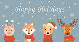 Winter banner with cute animals: deer, fox, bear, piggy. Merry christmas and happy new year. Vector illustration.