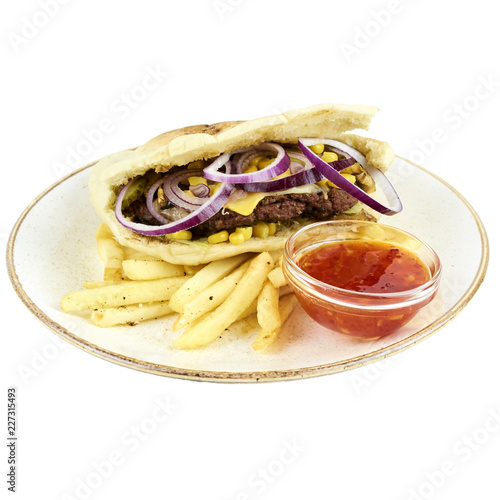 Burger with potatoes in a tortilla - 227315493