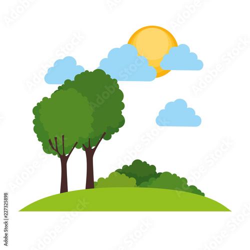 Sticker park landscape scene icon