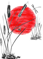 Dragonfly and bulrush, red sun. Watercolor and ink illustration in style sumi-e, u-sin, go-hua. Oriental traditional painting. Isolated.