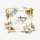 Christmas background. Festive design with Xmas decoration and realistic golden objects. Happy new year greeting card, banner, web poster. Vector illustration