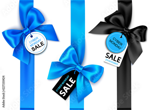 Set of decorative vertical blue ribbon with bow and price tag for cyber monday sale design. Vector holiday decoration and label isolated on white background