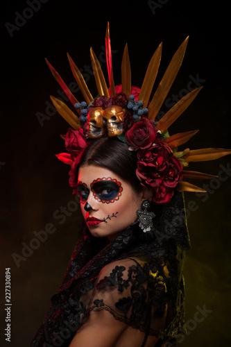 Creative image of Sugar Skull. Neon makeup for Halloween or Dia De Mertos holiday. - 227330894