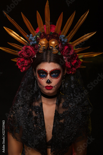 Creative image of Sugar Skull. Neon makeup for Halloween or Dia De Mertos holiday. - 227331463