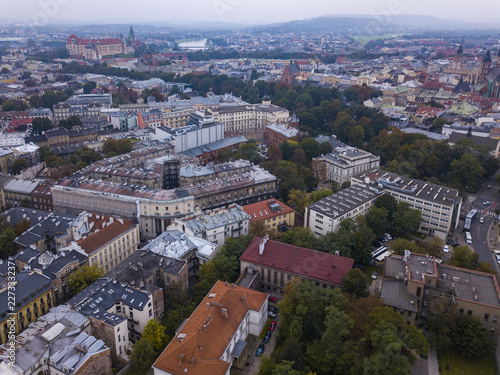 Old Town in Krakow from a bird's eye view, Poland - 227333237