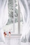 Wooden Reindeers Sitting In Window - 227338820