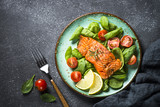 Baked salmon fish fillet with fresh salad top view. - 227339850