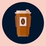 Coffee cup vector illustration isolated on blue background. Plastic coffee cup with hot coffee in flat style
