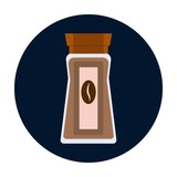 Coffee glass jar icon. Instant coffee granules flat design