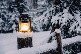 Vintage lamp in frozen forest  - 227343869