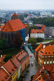 View of the Tumsky Island from the site of St. John the Baptist Cathedral, Wroclaw, Poland, on a cloudy rainy day.