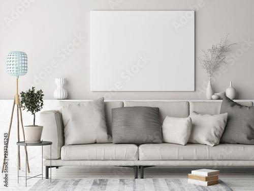 Mock up poster, Scandinavian background design, pastel colored, 3d render, 3d illustration