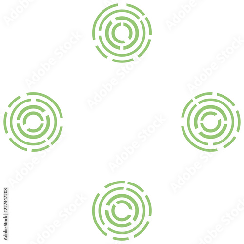 Pattern of abstractions from green bursting circles and lines.. - 227347208