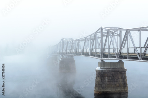 bridge in mist