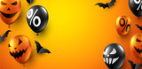 Orange Halloween poster with bats and balloons. Holiday sale. - 227355621