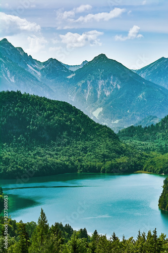 Leinwanddruck Bild Alpensee Lake in Alps