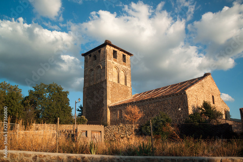 General view of the Romanesque church of Sotosalbos in Segovia, Spain