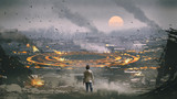 post apocalypse scene showing the man standing in ruined city and looking at mysterious circle on the ground, digital art style, illustration painting - 227368293