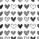 Hand drawn hearts. Vector seamless naive pattern for Valentine's day. Various doodle hearts background. Monochrome hand drawn repeatable backdrop. - 227370073
