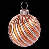 Christmas ball metallic orange golden shiny. New Year's Eve bauble decoration glossy. Merry Xmas hanging adornment. 3d rendering, isolated on black