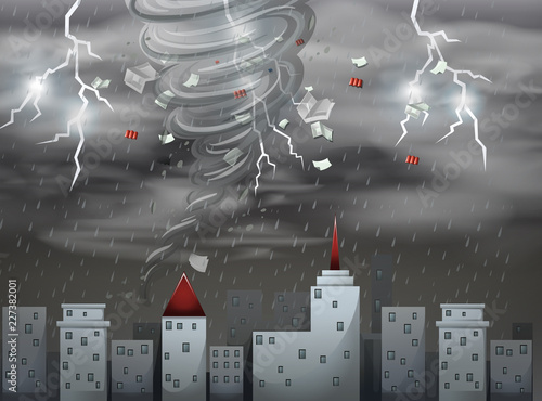 City scape tornado and storm scene