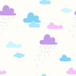 seamless pattern with cartoon clouds and rain - 227383677