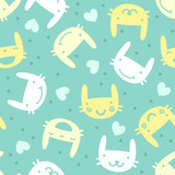 seamless pattern with cute bunny emotions