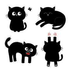 Cat set. Nail claw scratch, sitting, screaming, sleeping, looking at butterfly. Black kitten. Cute cartoon funny character Baby pet collection White background Isolated Flat design