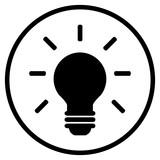 Glühlampen Icon im Kreis