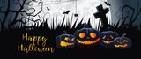 Happy Halloween scary banner design. Creative greeting card with angry cartoon pumpkins on black grass, huge white moon and cemetery. Lettering can be used for postcards. - 227426870