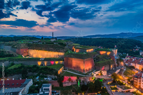 Fridge magnet Fortress Klodzko in the evening aerial view