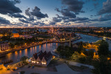 Gdansk aerial view, citylight panorama in the evening with Museum of WWII