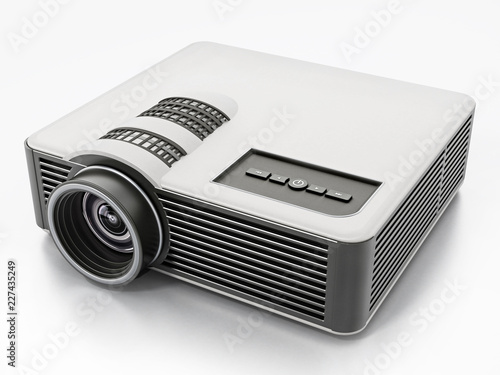 Generic projector isolated on white background. 3D illustration - 227435249