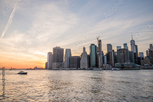 View of the city of New York and the bay at sunset. New York.