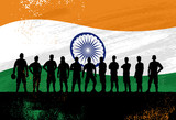 Silhouette of soccer team with flag of India as a background, Vector Illustration - 227440039